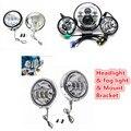 """Hot Set Harley Daymaker Motos 7"""" LED Headlight & Led Fog Light for Harley Davidso Motorcycle & 4.5"""" mount Bracket Adapter"""