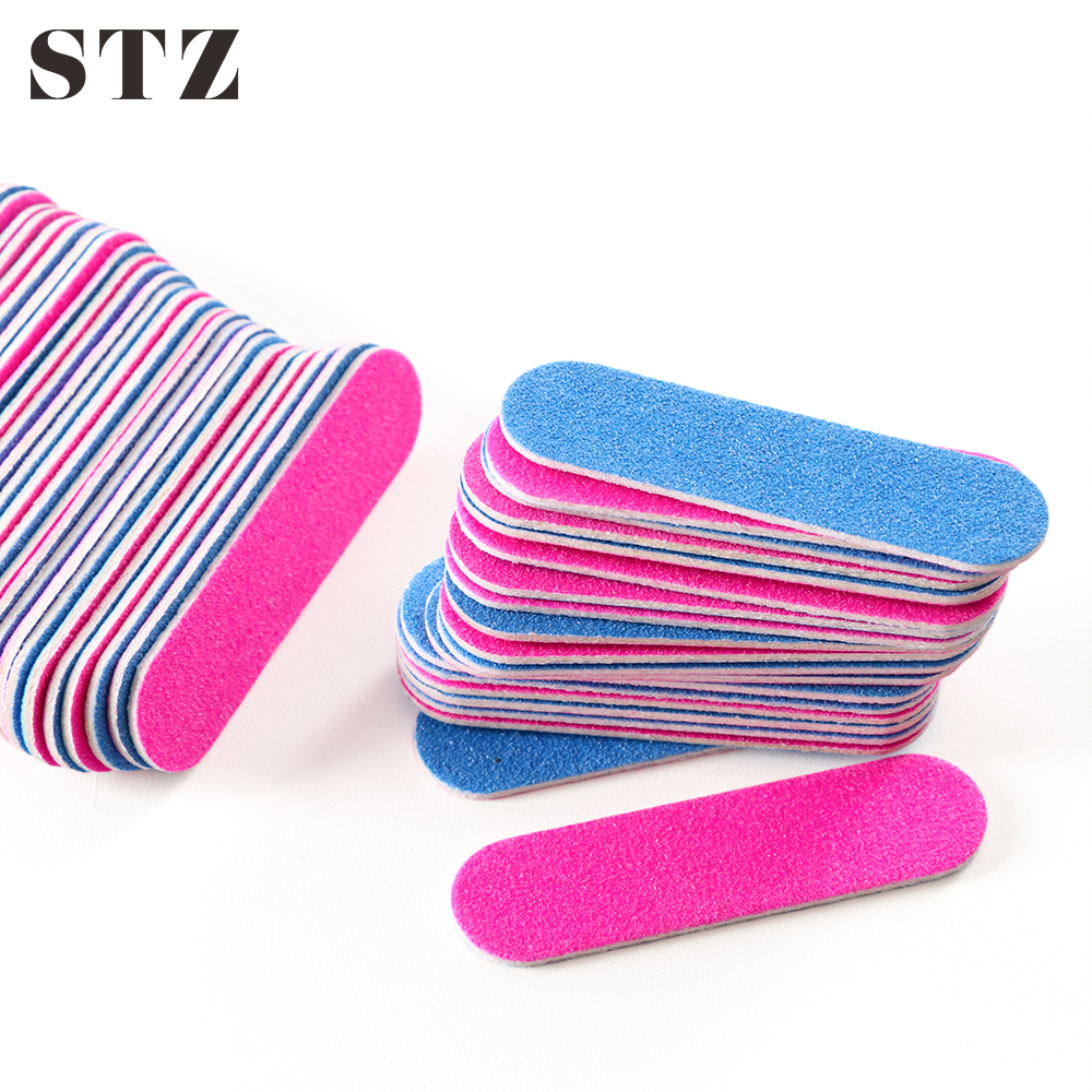 STZ 100pcs Mini Nail Files Double-sided Disposable Cuticle Remover 180/240 Grit Artificial Nail Sandpaper Nail Gel Manicure #858
