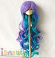 Brand New Heat Resistant Fluffy Weaving Wigs Blue Green Purple Layers Hair for Bly the and 1/3 1/4 1/6 BJD Dolls