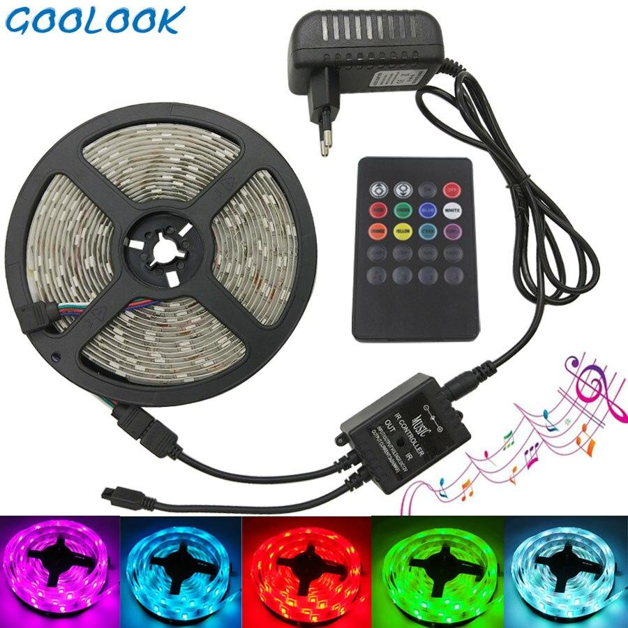 Goolook RGB LED Bande Lumière 5050 SMD 5 m 10 m Led Bande De Lumière Imperméable À L'eau RVB diode LED Ruban Musique IR Contrôleur + Alimentation