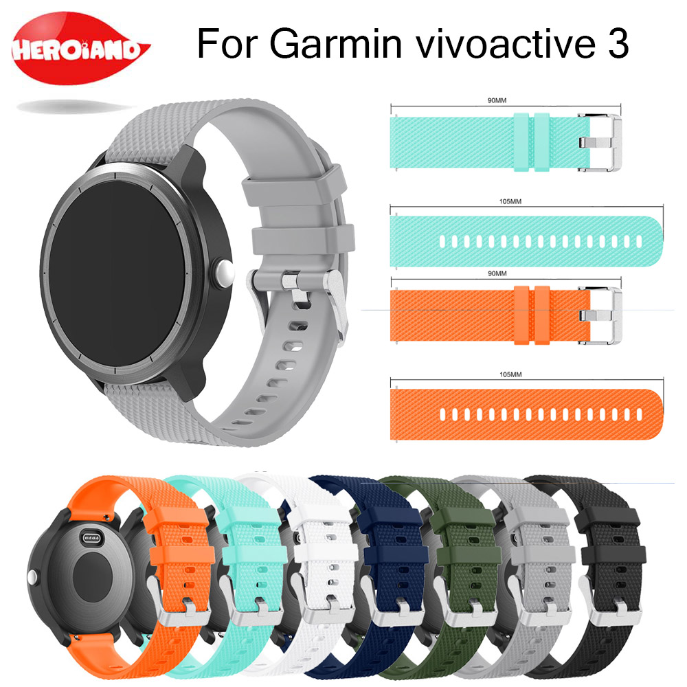 все цены на Silicone Rubber Watch Band Wrist strap For Garmin vivoactive 3 Replacement Watchband Strap For Garmin vivoactive 3 Wristband онлайн