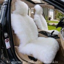 Из натуральной овечьей кожи сиденья 1 шт. автомобильные аксессуары интерьера Тюнинг автомобилей тепло сиденья Бесплатная доставка