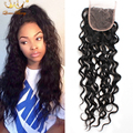 8A Brazilian Water Wave Closure 100% Human Hair Closure Swiss Lace 4*4 Mink Brazilian Lace Closure Wet and Wavy Bleached Knots