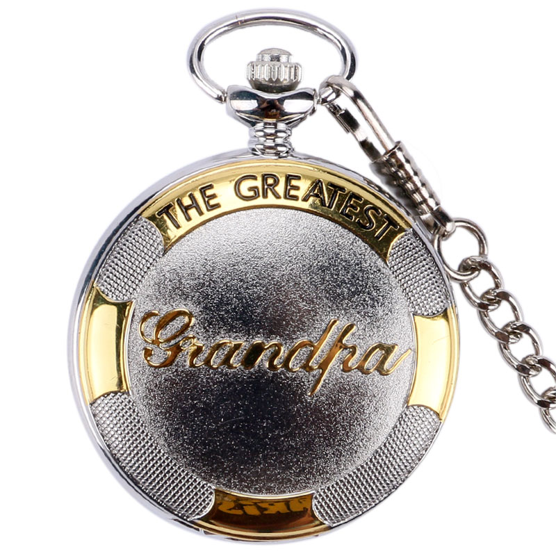 Classic The Greatest Grandpa Design Quartz Pocket Watch With Pendant Chain High Quality Clock Best Birthday Gifts
