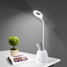 Brightness Adjustable led table Lamp Office/home Pen Container 3W LED Desk Touch Switch with USB Port Cord