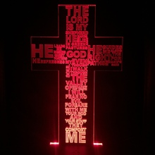 Shepherd Psalm Jesus Christ Cross Shaped Usb 3d Led Night Light Gifts Desk Crucifix Table Lamp Bedroom The Lord Is My