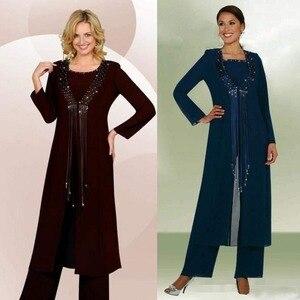 Image 4 - נשים 3 חתיכות אלגנטי ואגלי ציצית שיפון אמא של הכלה שמלת מכנסיים חליפה עם מעיל תלבושת לחתונה חתן 2019