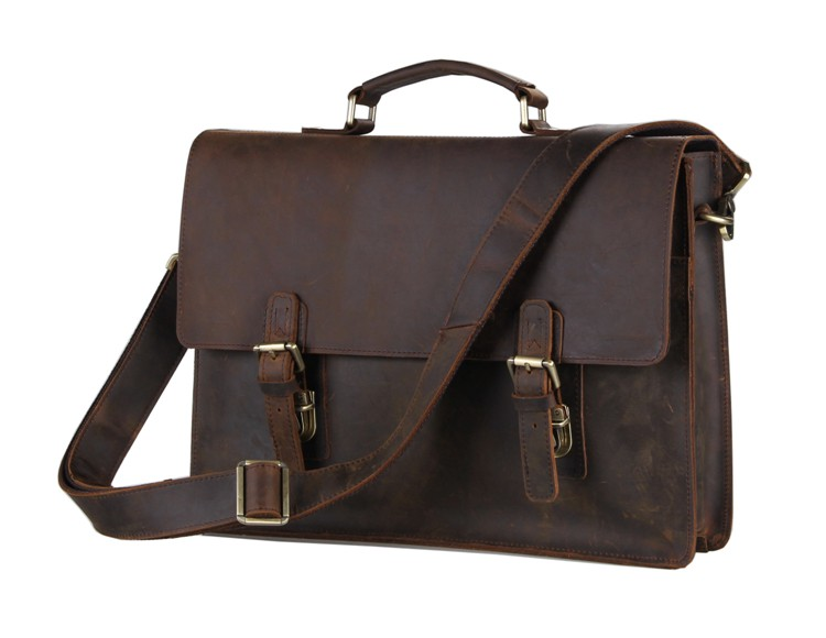 Vintage Crazy Horse Genuine Leather Men Messenger Bags Cowhide Leather Briefcase Men's Bag Shoulder 14