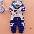 Winter Cartoon Baby Boy Clothing Set Warm Velvet Newborn Top+Pants 2pcs Suit boys Cattle Hooded suit Infant Baby Clothes Set