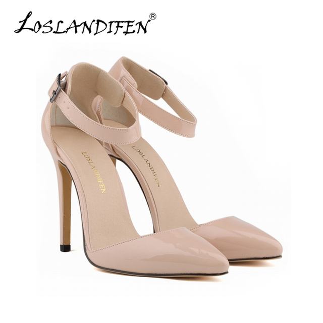 LOSLANDIFEN Women Pumps Nude Stiletto SexyPointed Toe Ladies Red 11CM High Heels  Shoes Ankle Strap Wedding Party Shoes 302-28PA e326e86cc
