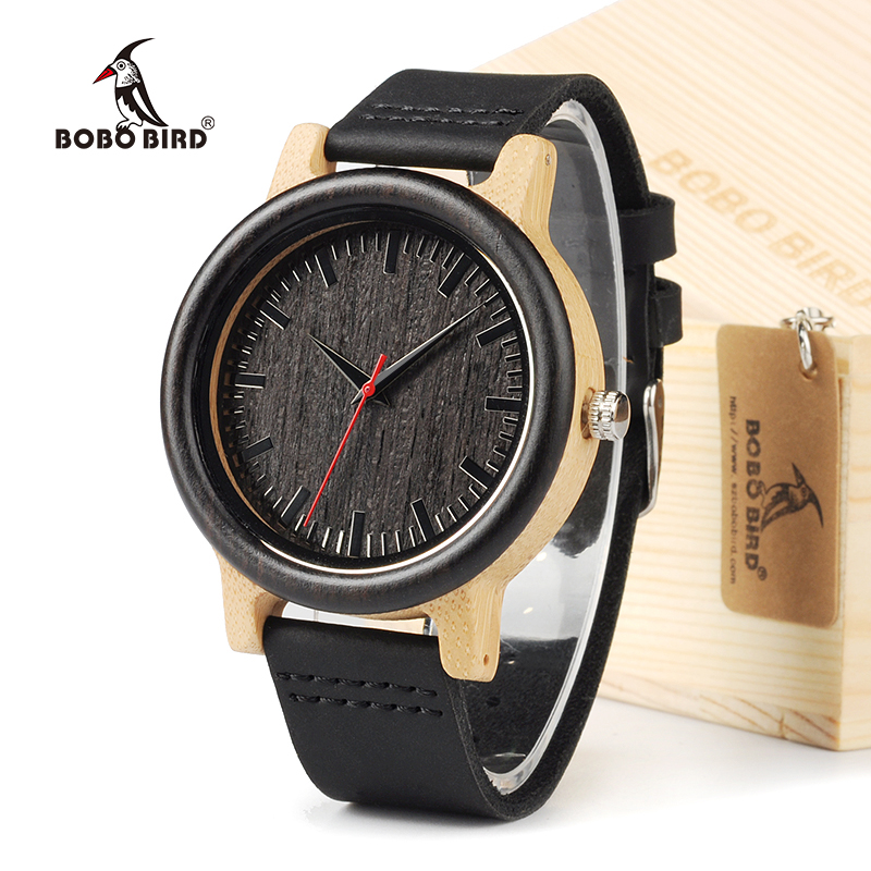 BOBO BIRD M13 Ebony Wooden Analog Wristwatch With Brown Cowhide Leather Strap Casual Watch for Groomsmen Gift bobo bird brand new sun glasses men square wood oversized zebra wood sunglasses women with wooden box oculos 2017