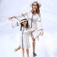 2019 Summer Family Clothing Family Matching Outfits mommy and me clothes girl and mother family look Mother Daughter Dresses
