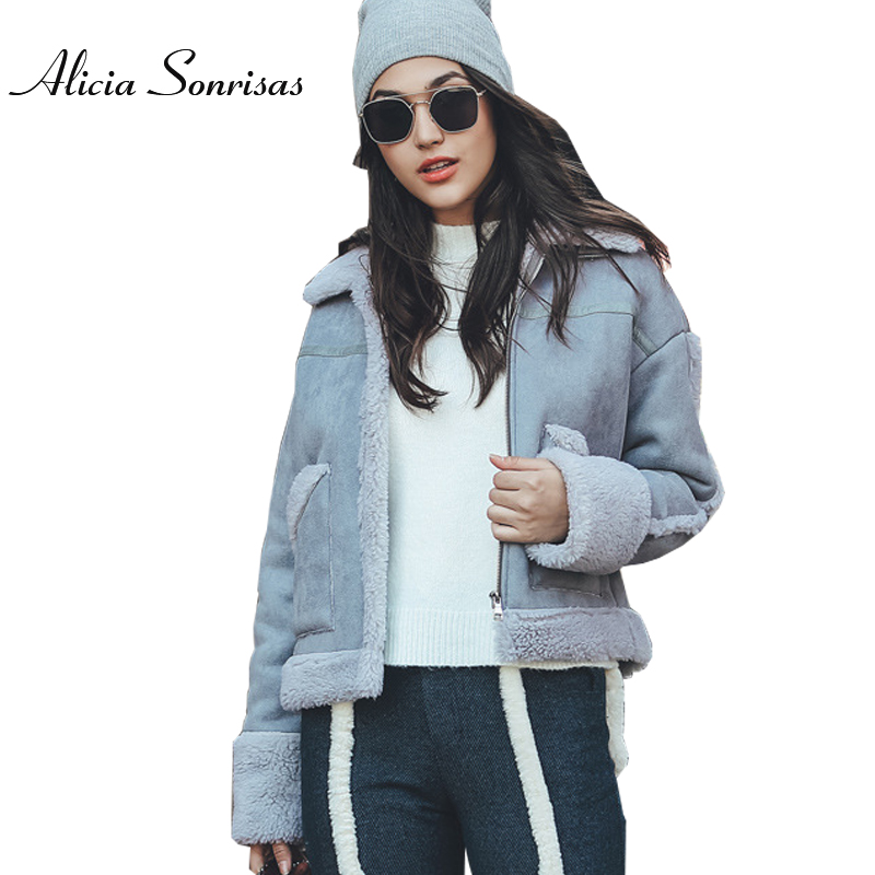 2017 Winter Suede Leather Jacket Women Short Lamb Wool Motorcycle Thick Lambs Wool Warm Sheepskin Shearling Coat AS175821