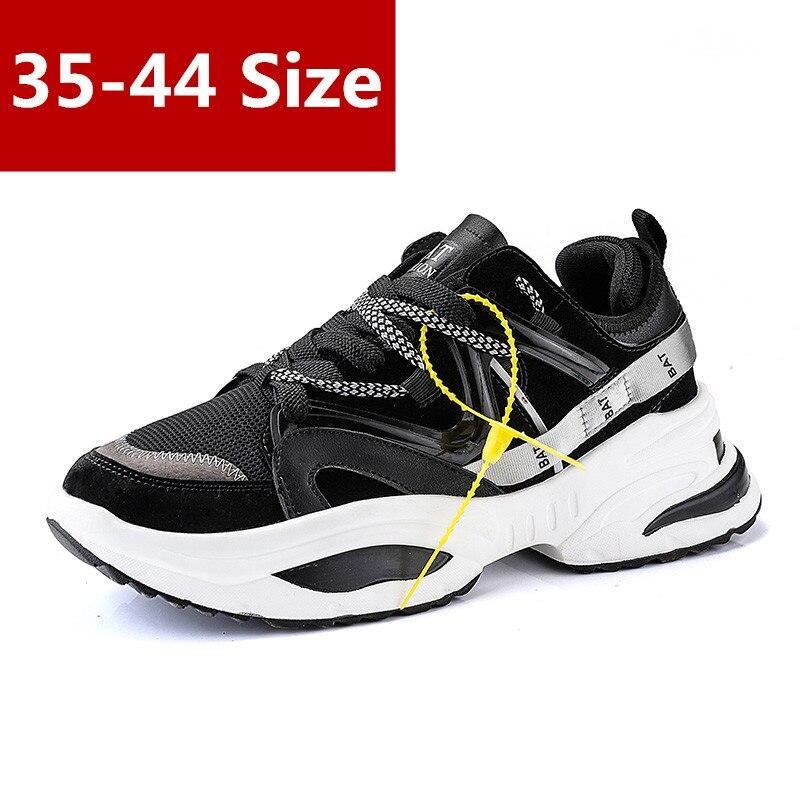 35-44 taille automne mode femmes chaussures décontractées en daim cuir plate-forme chaussures femmes baskets dames blanc formateurs multicolore noir