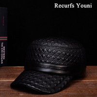 JA128 NEW 2017 Fall Winter Man Genuine Leather Embroider Flat Military Hat For Men Male Glen
