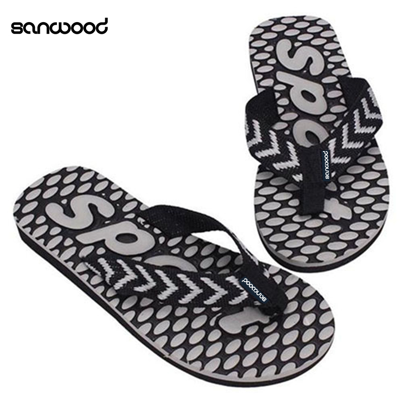 New Trendy Men's Summer Sport Dot Print Indoor Slippers Outdoor Flip Flops Beach Sandals coolfar 2016 new summer print sandals wedges polka dot slippers girls thick soles casual solid med cork flip flops