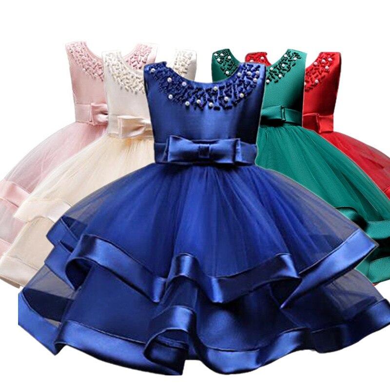 Bolo flor tutu Crianças Roupas Elegent mão beading Meninas Vestidos para Crianças Princesa Partido Custumes 2-10 Anos