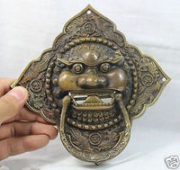 Chinese Old 6 China Chinese Folk Home Copper Fu Foo Dog Lion Head Door Knocker Statue