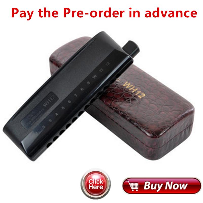 Payer la Pré-commande à l'avance 12 Trou Harmonica Chromatique WH12 professionnel instrument de musique orgue à bouche semi-mat ABS couverture