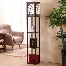 Artpad Chinese Decoration Wooden Floor Lamp With Wood Shelf Fabric EU/US Plug in LED Lights for Living Room Bedroom Decor