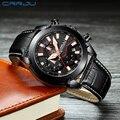 Мужские кварцевые часы CRRJU  модные водонепроницаемые спортивные наручные часы с кожаным ремешком  2219