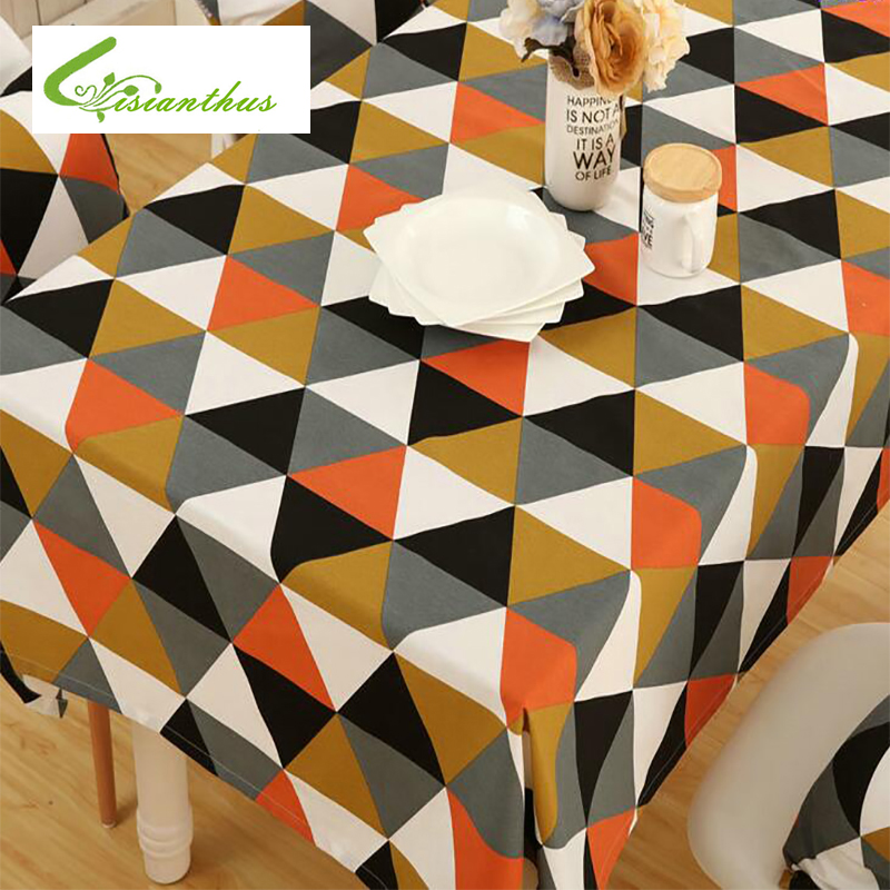 Waterproof Table Cloth Diamond Shaped Pattern Polyester Cotton Dinner Table Cover Home Decoration Chair Table Cover High Quality image