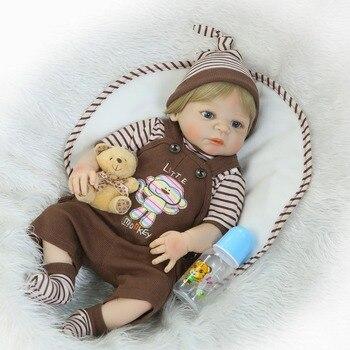 23inch Full Body Silicone Reborn Baby Doll Toy Newborn Boy reborn baby dolls Birthday Gift Fashion Play House Toy Girl presents