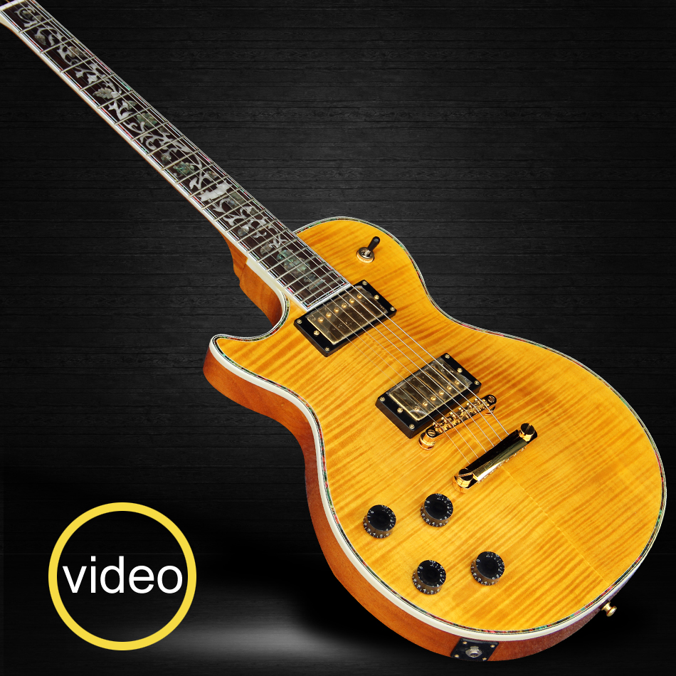 LP Supreme Left hand Electric guitar with Flame Maple Top & Back, Abalone binding top & back, Abalone Flower inlaid fingerboard hot electric guitar lp custom shop cherry burst quilt flame body top and back abalone binding ebony fingerboard free shipping