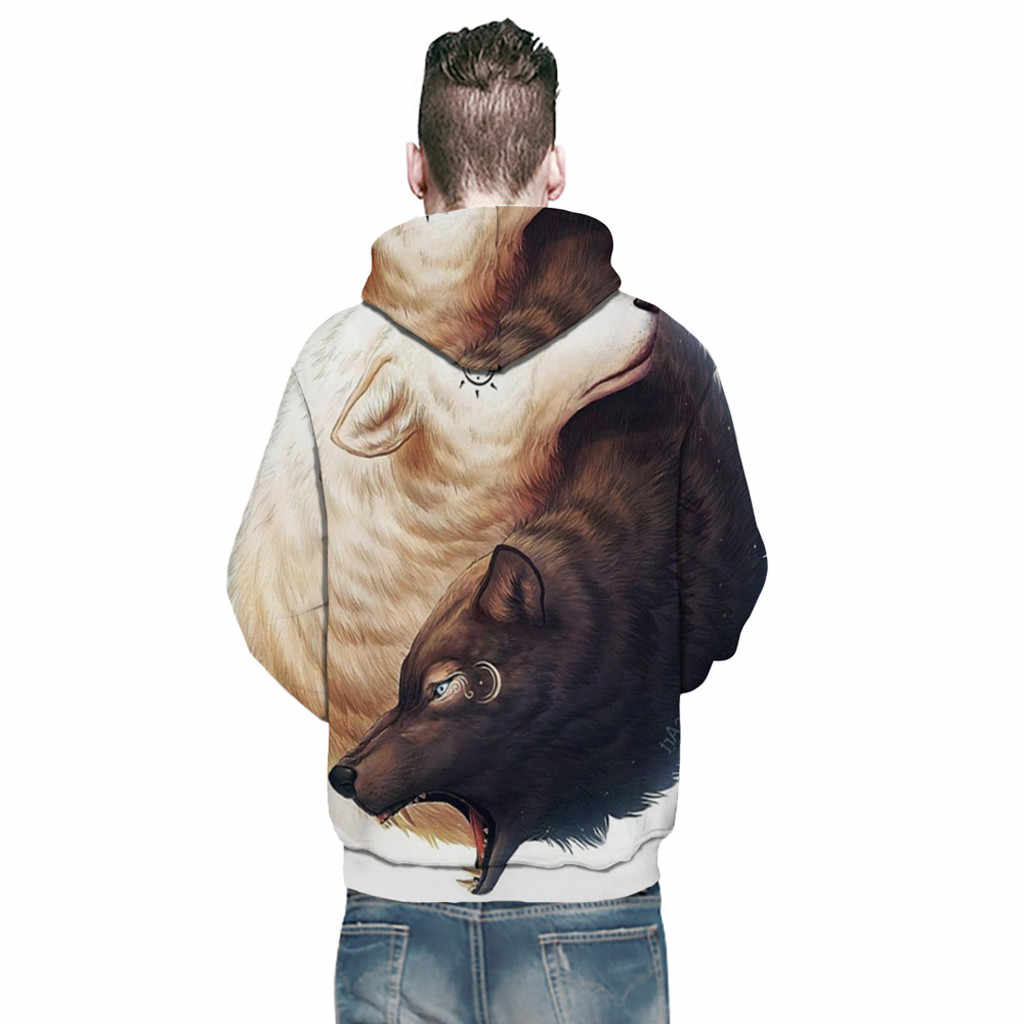 CHAMSGEND Men's Fashion 3D Brown Bear Print Print Long Sleeve Hoodie Sweater Loose Casual Sweatshirt Sports Training For Couples