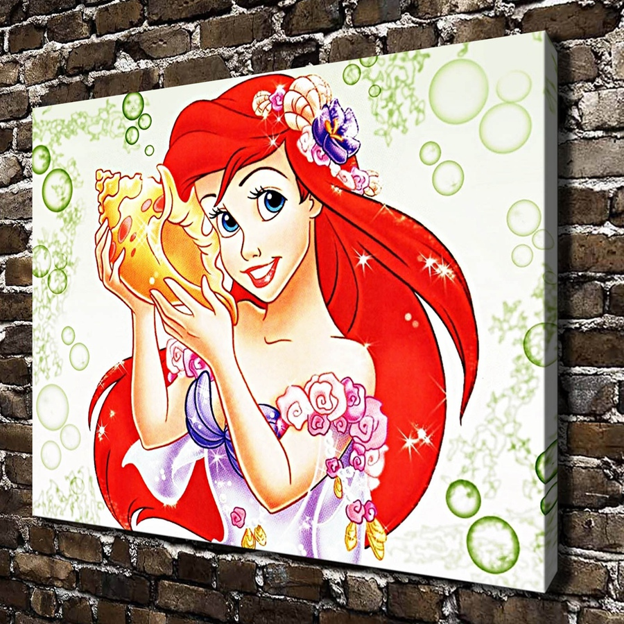 A1017 Little Mermaid Children's cartoon film , HD Canvas Print Home decoration Living Room bedroom Wall pictures Art painting