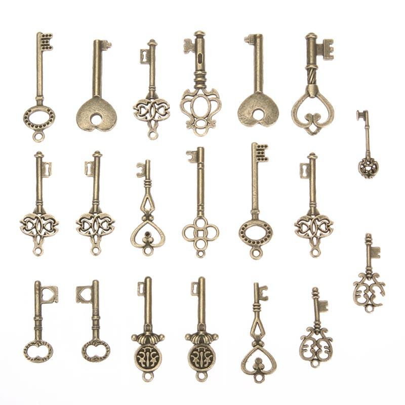 Mix 20 pcs Antique bronze variety of styles Keys Pendant Alloy DIY Fashion charm Bracelet Necklace Jewelry Accessories ...