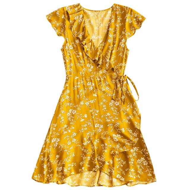 Michael Kors Wrap Dress Tiny Floral Ruffle Mini Wrap Dress - Brick-red M Summer Short Sleeves Women  Dress Vestidos Cotton Blends Casual Sundress
