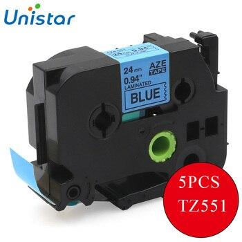 UNISTAR 5 uds Compatible para Brother P-touch cintas TZ 24mm negro sobre azul TZe-551 TZe551 TZe 551 etiquetas Hermano P touch