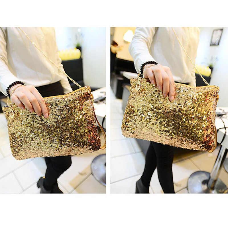 Kobiety panie błyszczące cekiny torebka musujące Party kopertówka wieczorowa portfel torby z bawełny dla kobiet 2019