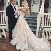 Sexy V Neck Lace Applique Long Sleeves Wedding Dresses Ruffle Skirt Tiered Tulle Wedding Bridal Gowns Celebrity Vestido De Noiva