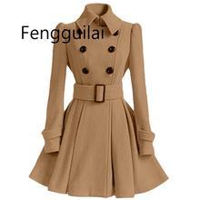 Осенне-зимнее женское пальто, модный тонкий винтажный двубортный пиджак, женский элегантный длинный тонкий теплый красный Блейзер Mujer