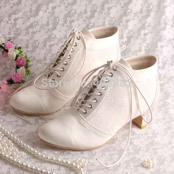 Wedopus Lace Up Ankle Ivory Wedding Boots Bridal Women Shoes Low Heeled In From On Aliexpress