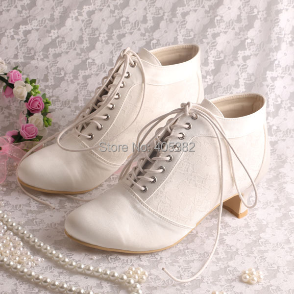 Wedopus Lace Up Ankle Ivory Wedding Boots Bridal Women Shoes Low Heeled