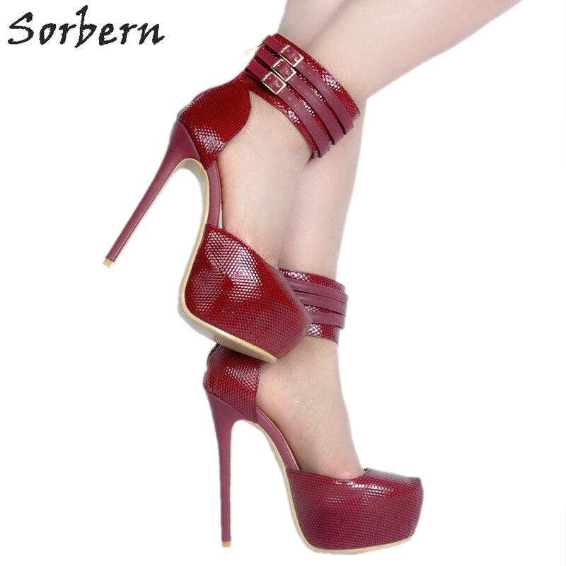 Talons Épais Sexy De rouge Designers forme Sorbern Color Luxe Cheville Robe Hauts Femmes Custom À Dames Rouge La Plate Chaussures Pompes Bride Baa4wqSz