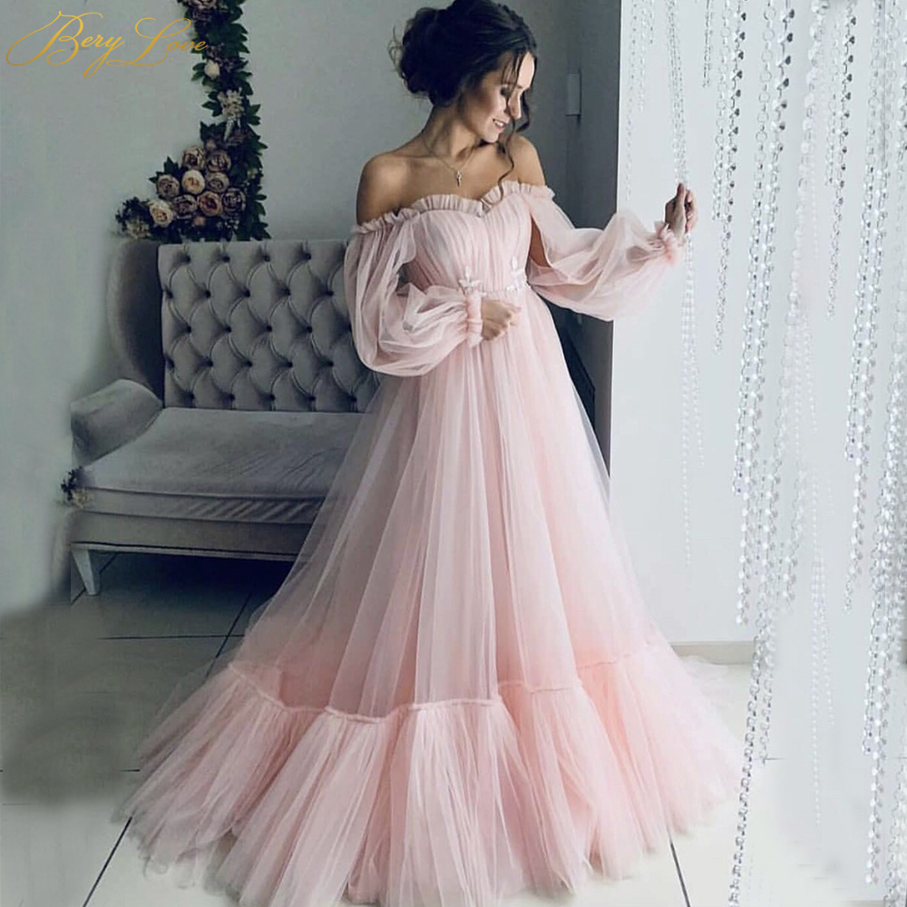 BeryLove Blush Pink Tulle Evening Dress 2020 A-Line Long Sleeves Sweetheart-Neck Long Maternity Evening Gown For Pregnant Woman
