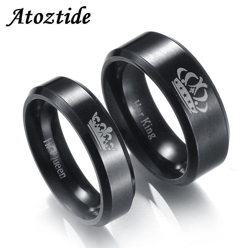 Atoztide 1pc Gravierte Ihr König Seine Königin Crown Paar Ringe Romantische Runde Liebe Ring Für Liebhaber Hochzeit Band Engagement schmuck