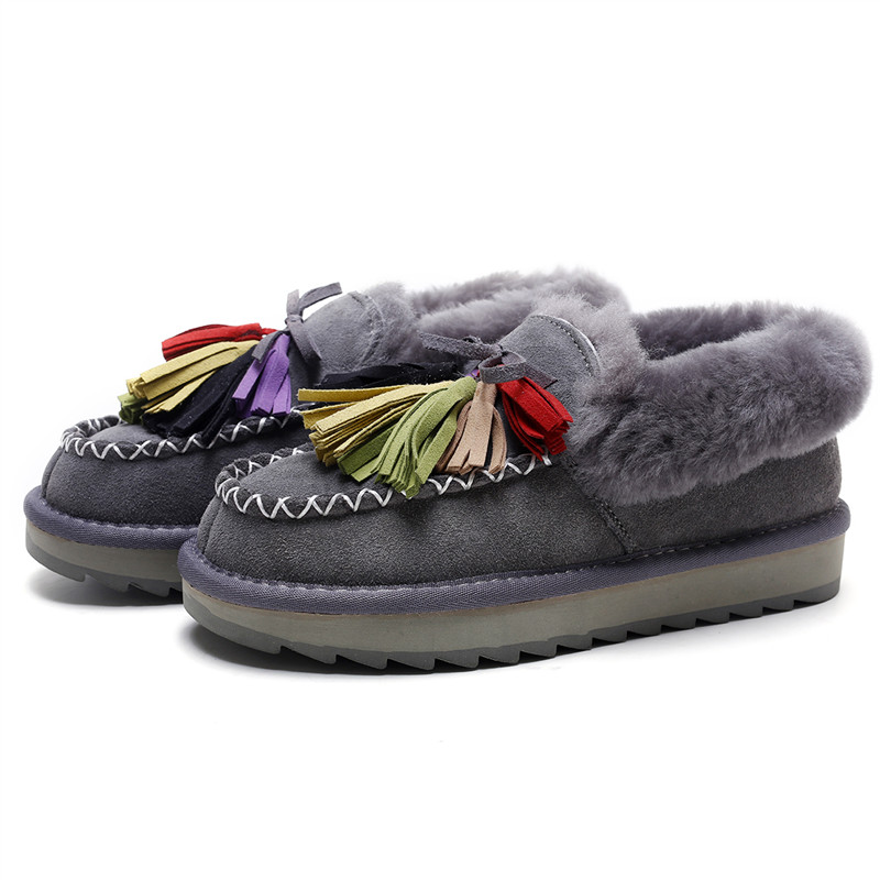 ФОТО New Arrival Women Winter Warm Shoes Fringe Flats Thick Sheep Wool Fur Moccasin Slip ons Loafers Shoes with Colorful Tassel Deco