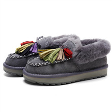 New Arrival Women Winter Warm Shoes Fringe Flats Thick Sheep Wool Fur Moccasin Slip ons Loafers Shoes with Colorful Tassel Deco