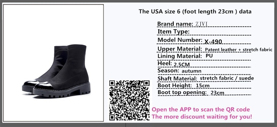 ZJVI womens Patent leather stretch fabric ankle boots women autumn platform boots 2018 fashion woman ladies suede black shoes