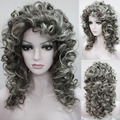 peruca hair queen New HOT Free Shipping >>>Euro Charm Women's Long Spiral Curly Hari Heat Resistant Full Wig Gray Wig women's pe