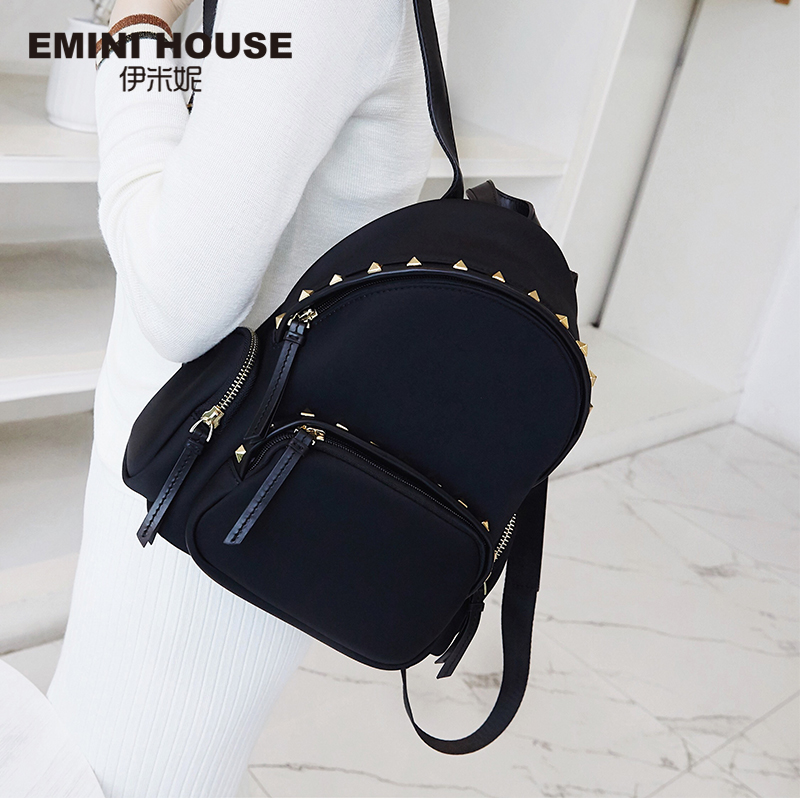 EMINI HOUSE Rivet Nylon Backpack Waterproof Roomy Laptop Backpack Women Shoulder Bag Backpacks For Teenage Girls School Bags tegaote new design women backpack bags fashion mini bag with monkey chain nylon school bag for teenage girls women shoulder bags