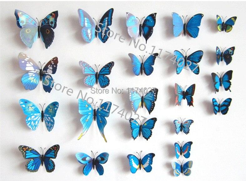 Envío gratis 12 unids PVC 3d mariposa pegatinas de pared decoración del hogar co