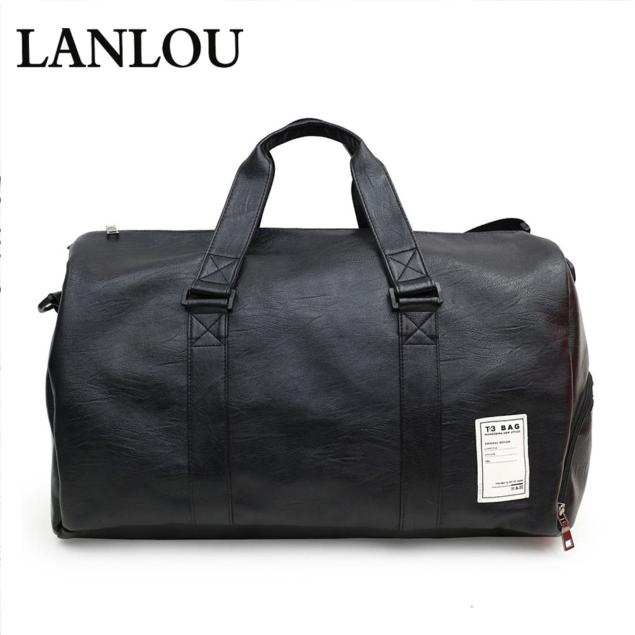 New Unisex Handbag Large Capacity Leather Travel Bags Sports Gym Shoulder Bag Carry On Luggage Bags Men Women Travel Messenger