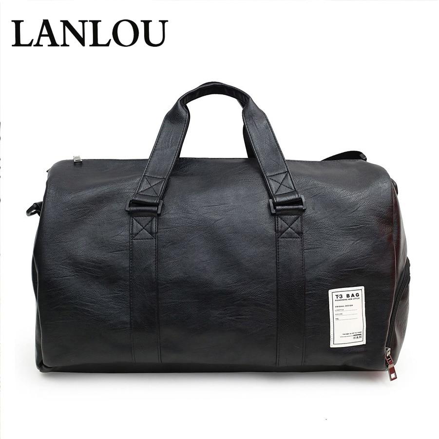 New Unisex handbag Large capacity Leather Travel Bags Sports gym shoul