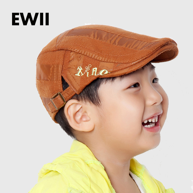 b4be75259bc Fashion boy accessories Autumn And Winter cool flat cap kids beret hats  children caps boys brand striped hat boina casquette